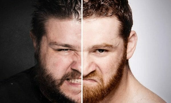 photo with the right side of Kevin Owens face and the left side of Sami Zayn's face