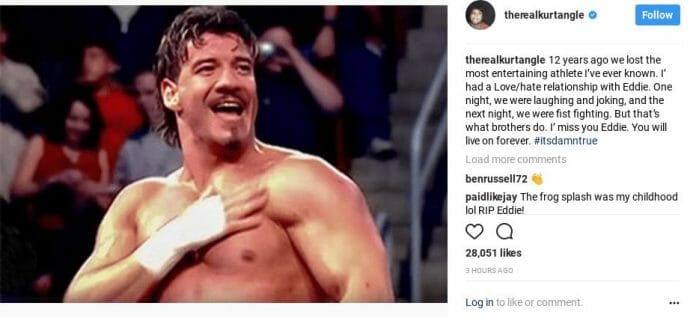 Instagram Post from Kurt Angle on the death of Eddie Guerrero 12 years later