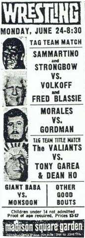 Newspaper Clip ad for Wrestling at Madison Square Garden June 24, 1974