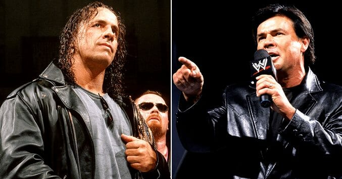 Side by Side photos of Bret Hart and WCW's Eric Bischoff both in leather jackets
