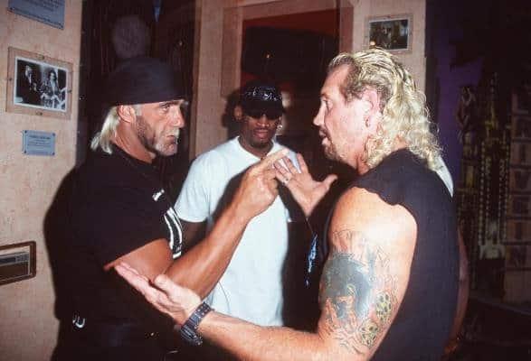 Hulk Hogan and NBA legend Dennis Rodman confront DDP.