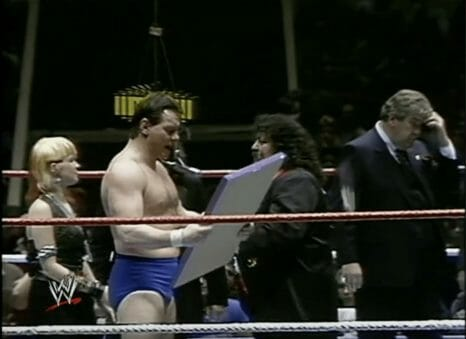 Roddy Piper before clocking Lou Albano over the head with a plaque and kicking chart-topper Cyndi Lauper