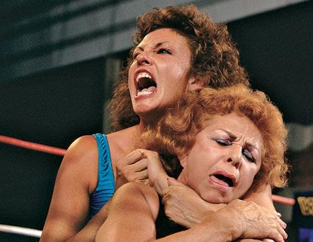 Sensational Sherri battling it out with her teacher, the Fabulous Moolah