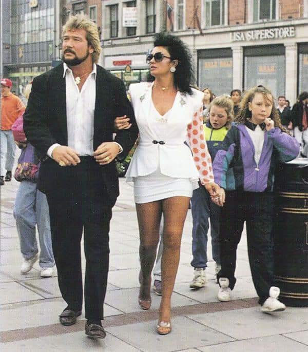 Sensational Sherri out and about with Ted DiBiase while on tour in Ireland in a short skirted white suit