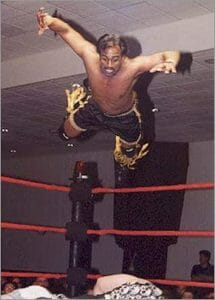 Tiger Khan pouncing off the top rope