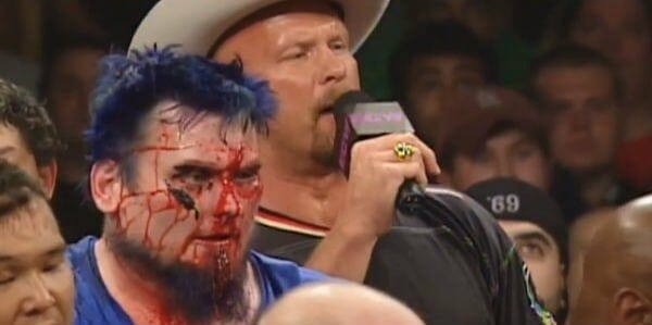 A bloodied Blue Meanie moments after being attacked by JBL at ECW One Night Stand 2005