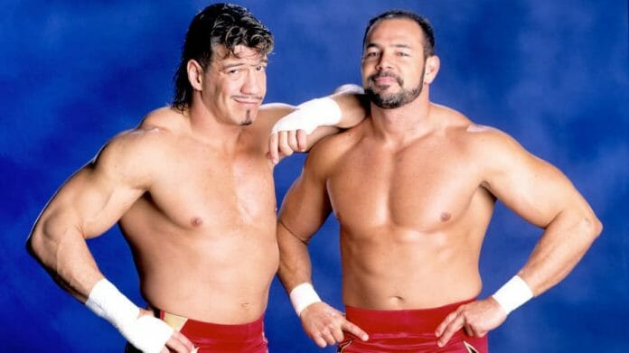 Eddie and Chavo Guerrero during their stint as Los Guerreros for WWE in red trunks and no shirts