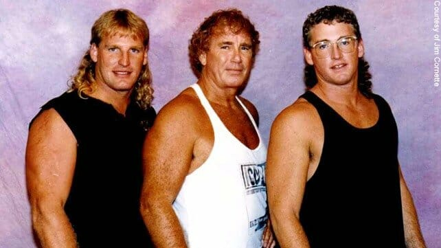 Steve, Bob, and Scott Armstrong in the 1980s in T-shirt in front of a purple background