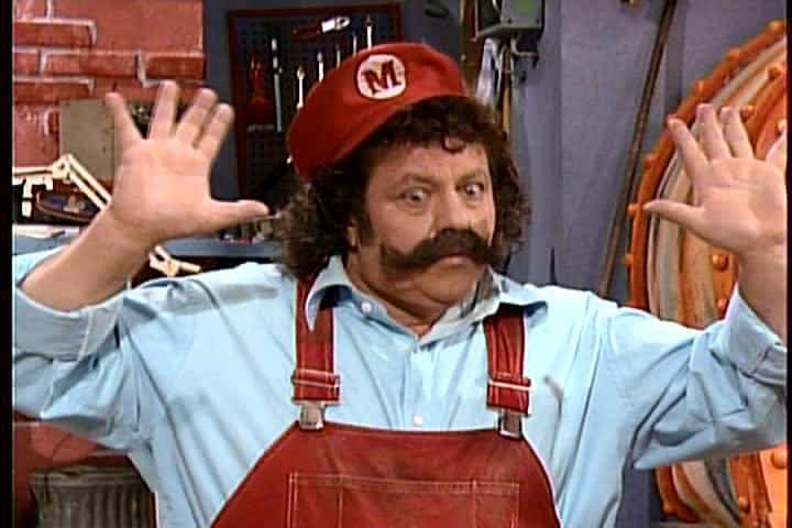 Lou Albano dressed as Mario from the Super Mario Brothers