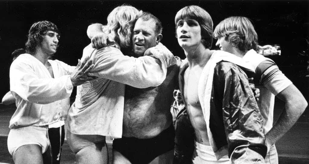 The Von Erich Wrestling Family giving father Jack Adkisson--better known as Fritz Von Erich, a hug after a match