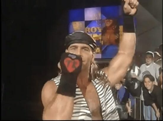 Shawn Michaels in 1995 wearing a leather hat and zebra print vest
