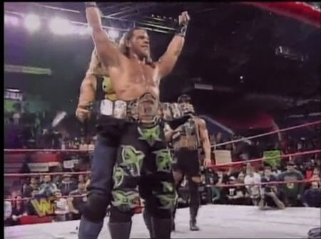 Shawn Michaels receiving a title belt with DX, 1997