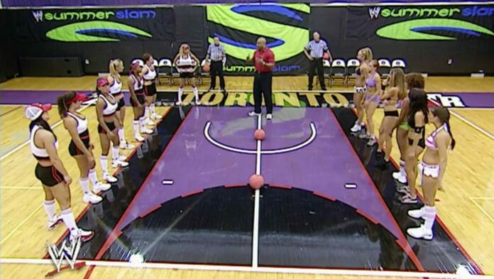 The Divas face-off against the Divas Search contestants in a dodgeball competition at SummerSlam 2004.