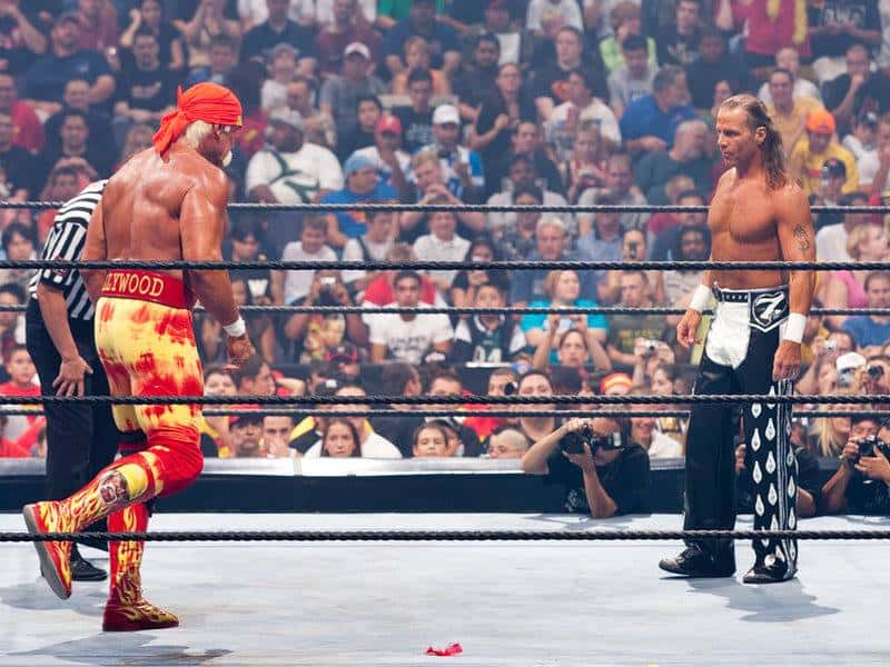 The Heartbreak Kid Shawn Michael and The Immortal Hulk Hogan in the ring at SummerSlam 2005