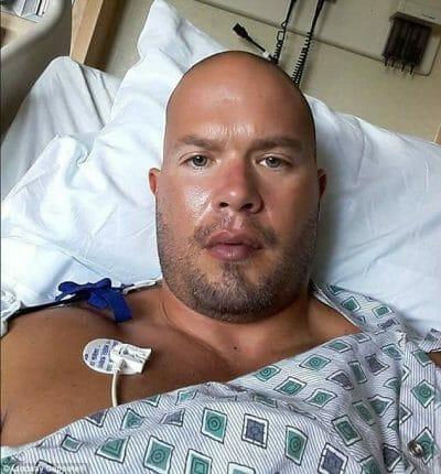 Matt Cappotelli in his hospital room fighting brain cancer.