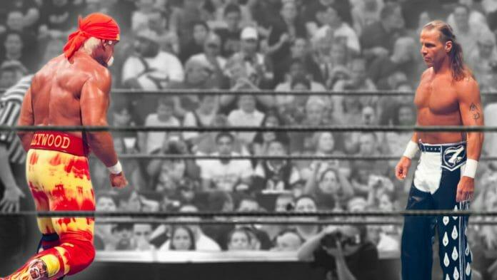 Hulk Hogan and Shawn Michaels square off at SummerSlam 2005.