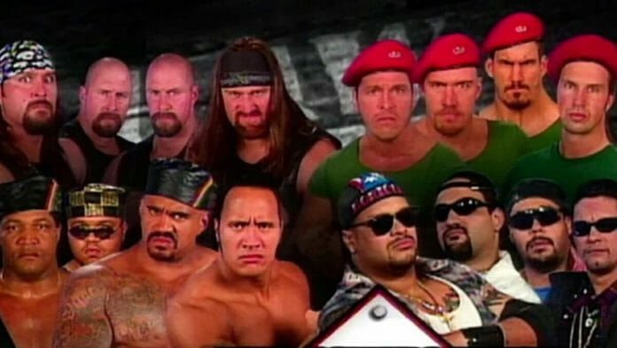 The Gang Wars were in full swing in the WWF by the end of 1997 (pictured: DOA, Nation of Domination, Los Baricuas, and The Truth Commission).