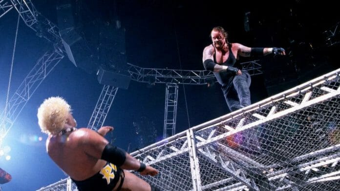 Wrestling Stipulations Never Used Again - Rikishi plummets off the Hell in a Cell steel cage after being pushed off the top of it by The Undertaker at 2000's Armageddon pay-per-view event