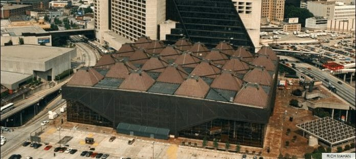 An aerial view of the Omni Coliseum in Atlanta, Georgia