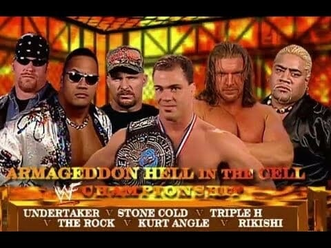 Wrestling Stipulations Never Used Again - Promo photo for December 10, 2000's Armageddon pay-per-view 6-man Hell in the Cell match featuring: The Undertaker, Stone Cold Steve Austin, Triple H, The Rock, Kurt Angle and Rikishi