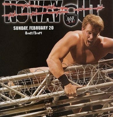 Wrestling Stipulations Never Used Again - February 20, 2005's No Way Out pay-per-view promo poster featuring JBL climbing over the barbed wire steel cage
