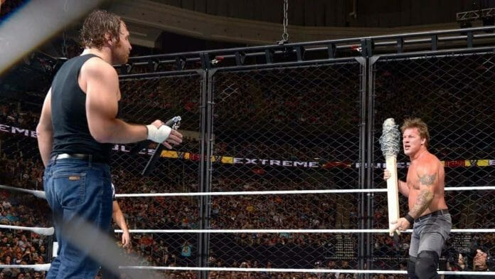 Wrestling Stipulations Never Used Again - Dean Ambrose, with nunchucks in his hand, squares off against Chris Jericho, with a barbed wire-wrapped 4x4, inside a steel cage for an Asylum Match at May 22, 2016's Extreme Rules pay-per-view