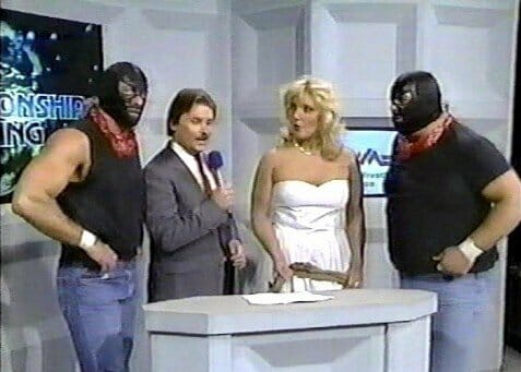 The James Boys (Magnum TA and Dusty Rhodes) with Baby Doll get interviewed by Tony Schiavone, NWA World Championship Wrestling on May 3rd, 1986. Their disguise didn't fool Jim Cornette and The Midnight Express!