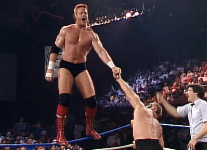 The Undertaker's first year in WWE - 'Mean' Mark Callous doing his trademark rope walk against Road Warrior Animal in WCW prior to his time as Undertaker in the WWE