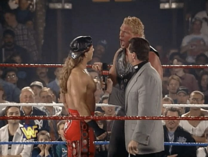 In a hot angle on WWF television at the time, Sid Vicious (then Psycho Sid) turns on Shawn Michaels on Monday Night Raw, April 3, 1995.