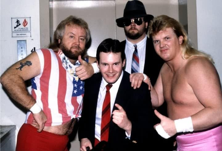"Jim Cornette and The Midnight Express (""Loverboy"" Dennis Condrey and ""Beautiful"" Bobby Eaton) and Big Bubba Rogers (who later became The Big Bossman), 1986."