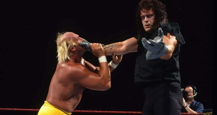 The Undertaker's First Year in WWE - The Undertaker wraps his hand around Hulk Hogan's mouth at Survivor Series 1991