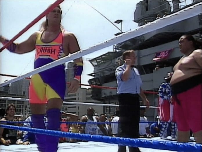 Wrestler Brian Adams Crush before attempting to slam Yokozuna on the U.S.S. Intrepid, New York, July 4th, 1993