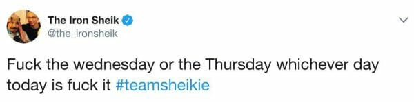 The Iron Sheik hates Wednesday, Thursday and whichever day today is