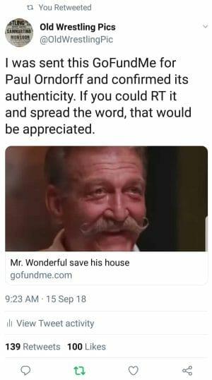 @OldWrestlingPic's tweet regarding Paul Orndorff's Go Fund Me campaign