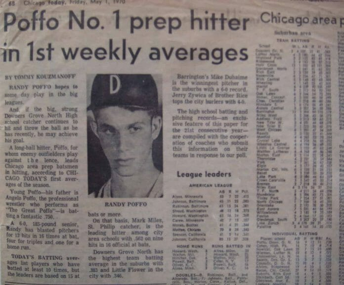 A May 1, 1970 newspaper clipping on 'long-ball hitter' Randy Poffo, who was just a high schooler at the time with aspirations to make it to the big leagues