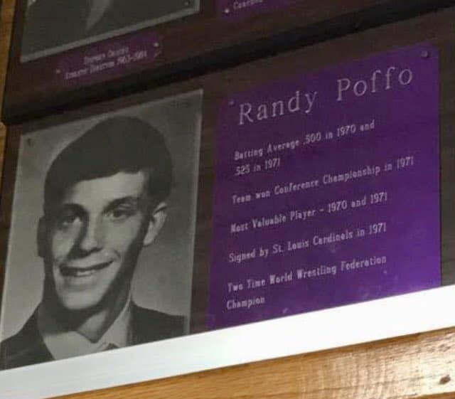 A plaque honoring Randy Poffo at the school he once went to, Downer's Grove High School