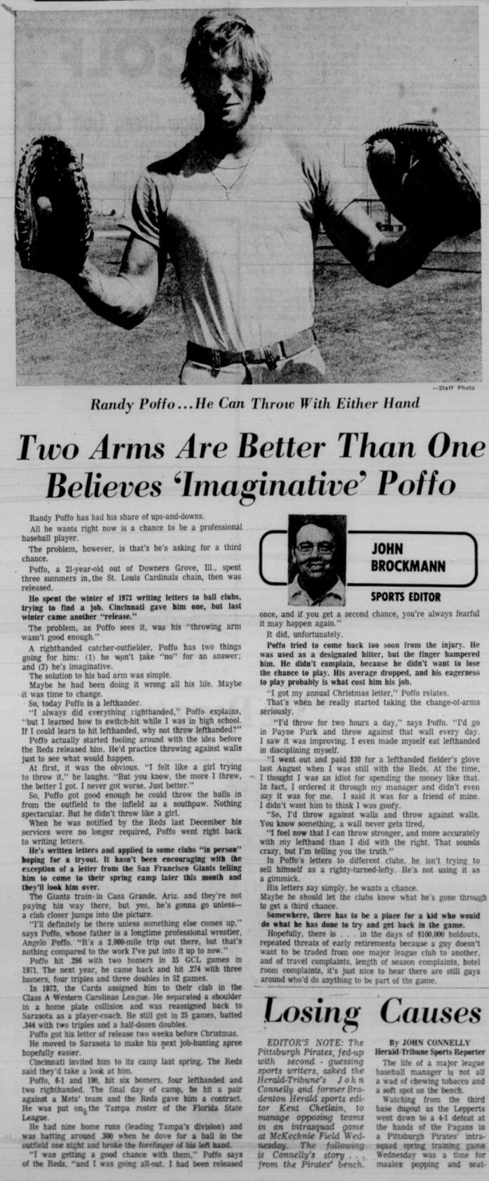 Randy Poffo learns to throw with both hands! Newspaper clipping from the May 6th, 1975 edition of Sarasota Herald Tribune.