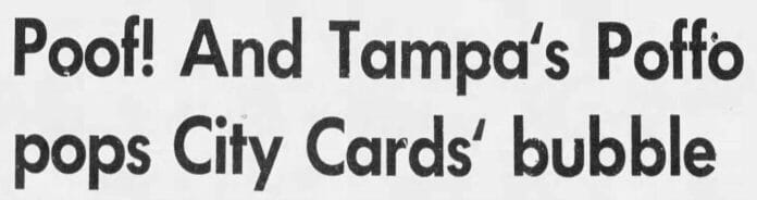 A headline about Randy Poffo while with the Tampa Tarpons featured in the Tampa Bay Times, Monday, June 24, 1974.