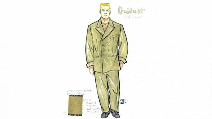 Early concept art for Dustin Rhodes' Goldust character