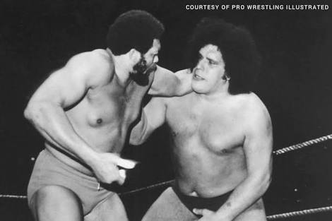 Andre the Giant Documentary | 12 Things Learned (And Facts Left Out!) - Andre the Giant and Ernie Ladd battling it out. Both were believed to be the same height of 6 feet 9 inches tall, despite Andre being billed to be 7 inches taller than that!