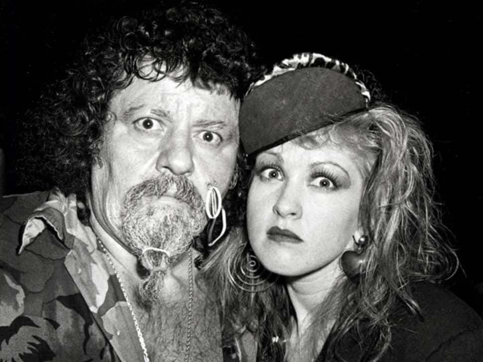 Wrestler Cameos In Music Videos - A black and white photo of Captain Lou Albano with his friend, Cyndi Lauper