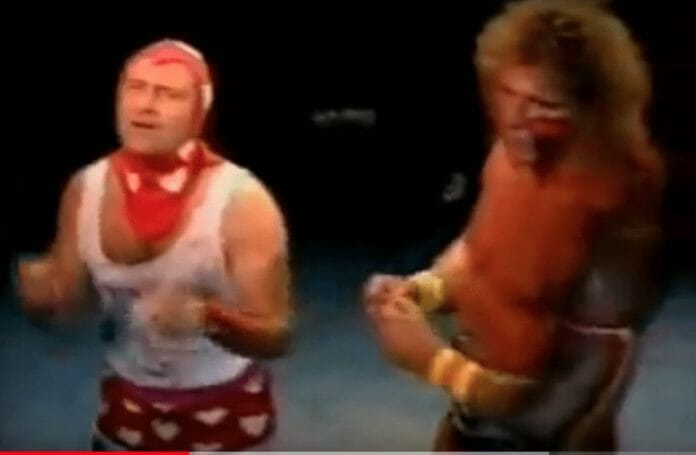 Wrestler cameos in music videos - Phil Collins alongside The Ultimate Warrior in the 'Two Hearts' music video
