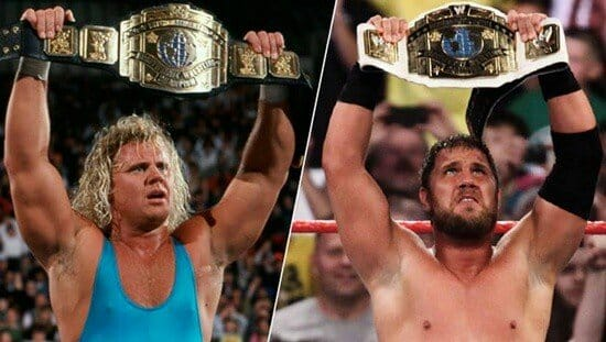 Like father like son. Side-by-side photos of Curt Hennig Mr. Perfect and Curtis Axel celebrate after winning the Intercontinental Championship