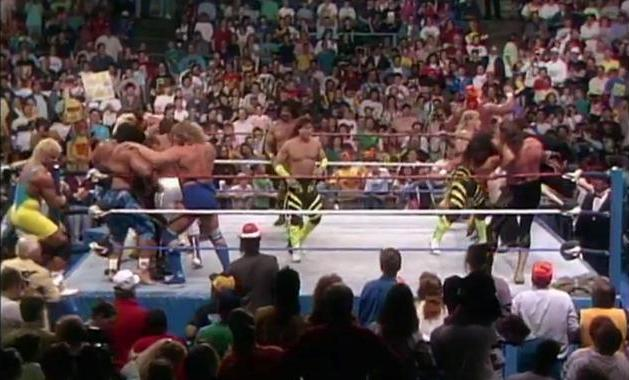 A WWE Battle Royal from Saturday Night's Main Event including Mr. Perfect Curt Hennig off to the left side