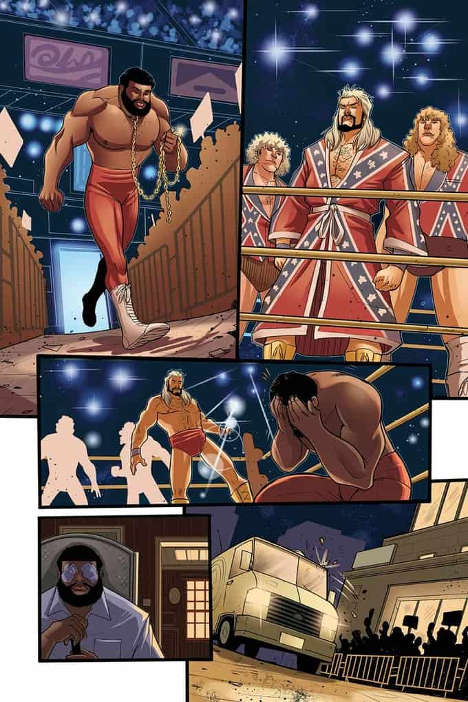A sample of Denis Medri's artwork from Jim Cornette's upcoming Behind the Curtain: Real Pro Wrestling Stories: The Fabulous Freebirds in the ring, complete with their Confederate battle flag ring gear during a feud with the Junkyard Dog from the early 1980s