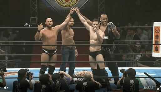 Bullet Club original members Karl Anderson, Tama Tonga, Prince Devitt and Bad Luck Fale 'Too Sweet' over Tanahashi at NJPW's Dontaku event