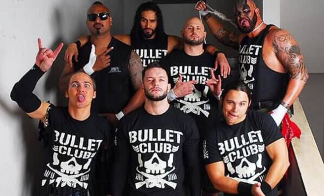 Bullet Club wearing the famous 'Bone Soldier' T-Shirt