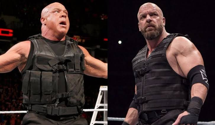 Kurt Angle and Triple H donning The Shield gear as stand-in replacements to Roman Reigns while he was out with injury in 2017