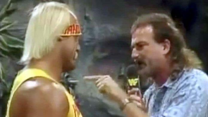 Hulk Hogan and Jake Roberts in a 'Snake Pit' segment on Wrestling Challenge, November 23, 1986