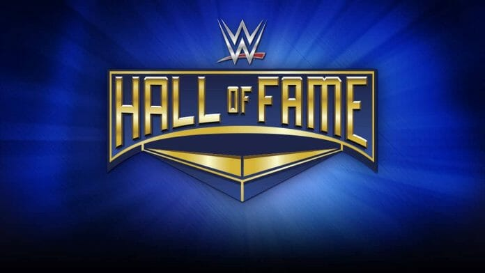 WWE Hall of Fame logo with blue background